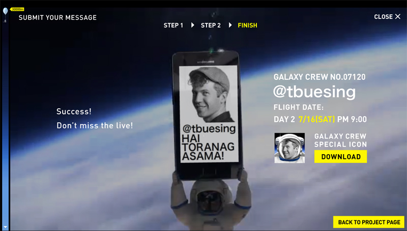 Samsung Tweet in Space